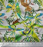 Soimoi Grau Satin Seide Stoff Äste, Papageien & Leopard