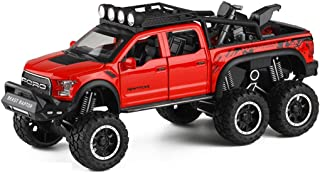 PENGJIE-Model 1:24 Ford F150 Raptor Refitted 6x6 Cross-Country Pickup Truck Model Toy with Motorcycle Sound Light and Back Force Function (Color : Red)