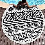 Round Mandala Beach Blanket Oversized, Microfiber Circle Black White Beach Towel Blanket, Water Absorbent Large Beach Towel for Men, Women, Travel, Swim, Camp, 59.1 Inch