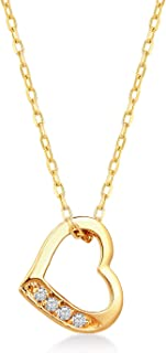 GELIN Open Heart Pendant Necklace with Genuine Diamond in 14k Yellow Gold, Love Jewelry for Women