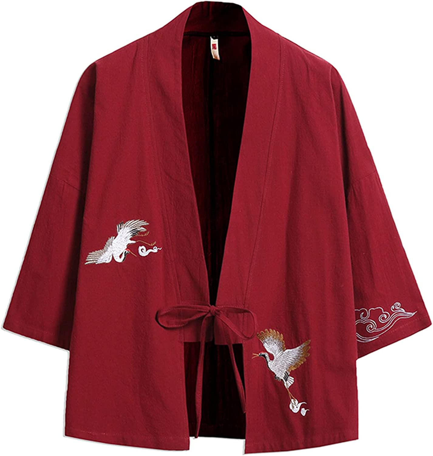 Pure Pang Men's Japanese Kimono Cardigan Crane Print 3/4 Sleeve Open Front Tops Outwear with Drawstring Closure