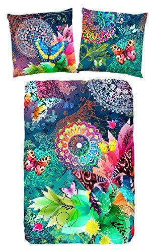 HIP Parada bettwäsche mit farbigen Figuren und Schmetterlinge, 100% Baumwolle/Satin-155x220cm, Satin, Multi Colour, 220x155x0.5 cm