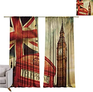 GUUVOR London Heat Insulation Curtain Vintage Style Symbols of London with National Flag UK Great Britain Old Clock Tower for Living Room or Bedroom W52 x L63 Inch Multicolor
