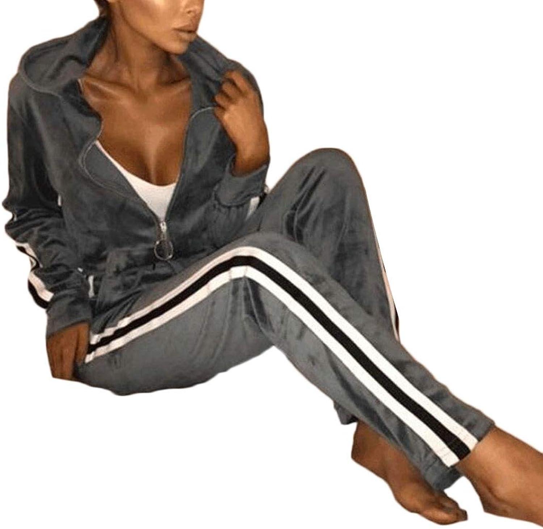 LEISHOP Women Athletics 2PC Velvet Jacket and Pants Casual Jogger Sportswear