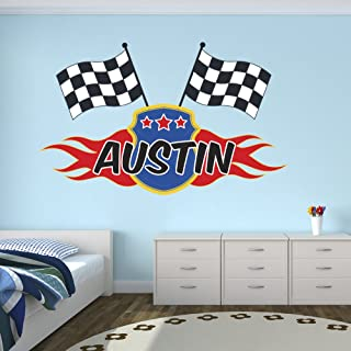 Custom Racing Flags Name Wall Decal for Boys Race Nursery Baby Room Mural Art Decor Vinyl Sticker LD06 (38