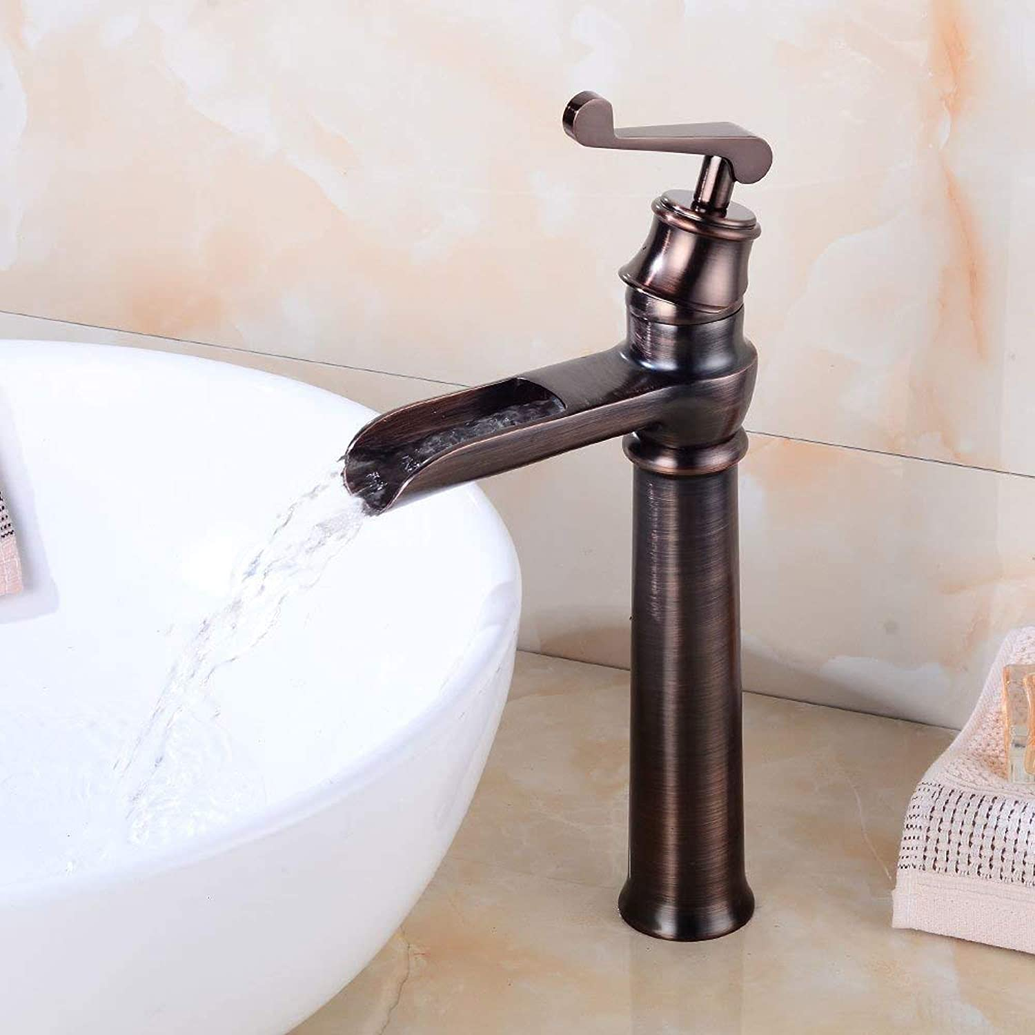 Antique waterfall, water faucet, European bathroom, single hole wash basin faucet, cold and hot mixed faucet, single black faucet