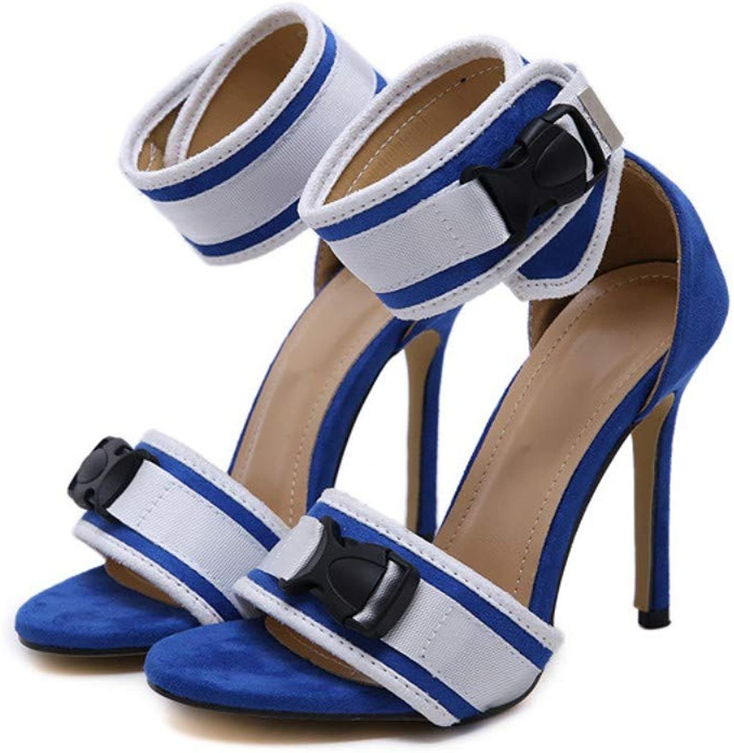 JQfashion Women's High-Heeled shoes Fishmouth High-Heeled Sandals Sexy Pointed Thin-Heeled Buckled Roman shoes