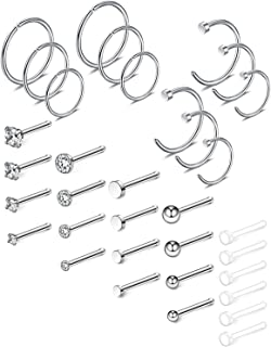 Ruifan 20G 18G Surgical Steel 1.5mm-3mm Flat Ball Clear Diamond CZ Nose Stud Rings Bone Pin Piercing Jewelry 16-34PCS