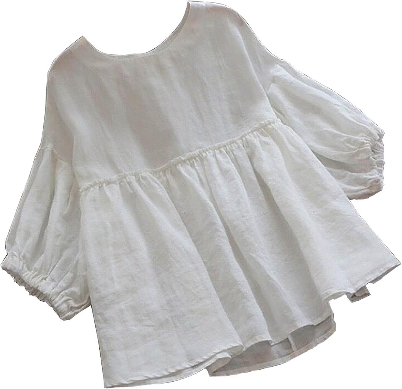 Women Crew Neck Solid Casual Linen Tops Pullover Long Sleeve T-Shirt Summer Tops Tee Shirts Blouse