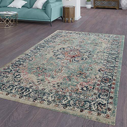 TT Home Alfombra vintage para interior y exterior, alfombra de cocina, diseño oriental, rojo, azul y beige, tamaño: 80 x 150 cm