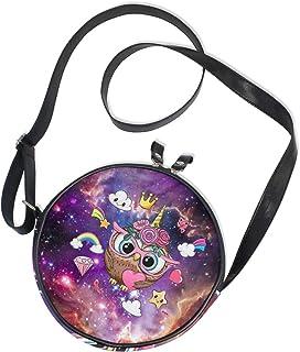 Ahomy Runde Tasche klein für Frauen – Galaxy Nebel Einhorn Regenbogen Eule Damen Mode Crossbody Tasche Umhängetasche