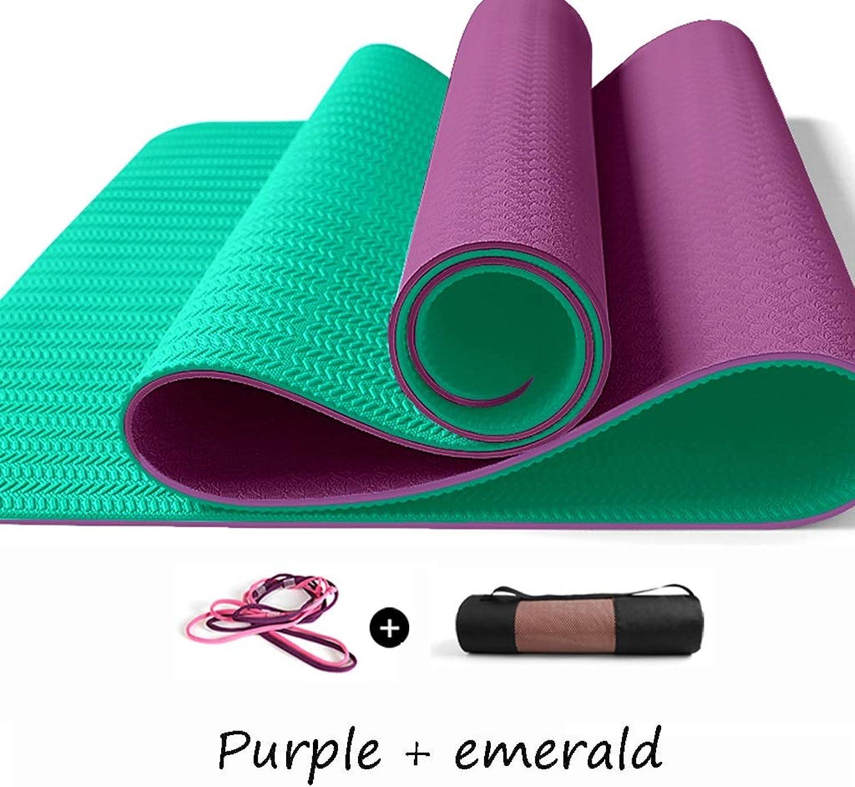 Yoga Mat Tire Pattern High Density Non-Slip Exercise & Fitness Floor Pilates Mat Three-Piece Suit (color   Purple+Emerald)