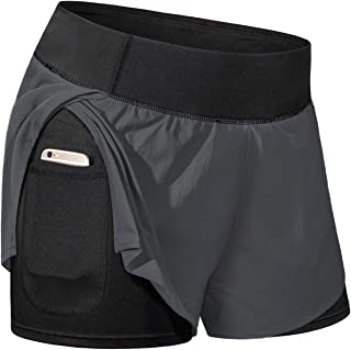 Kimmery Women Elastic Wasit Workout Shorts with Liner Yoga Shorts with Pockets