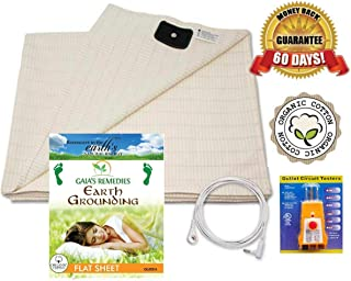 Earthing Grounding Flat Sheet (Queen Size) with Cord and Outlet Tester - Organic Cotton with 5% Silver Fiber for Grounding, Better Sleep, Earth Connection, Pain Relief, Reduced EMF- Ion Exchange
