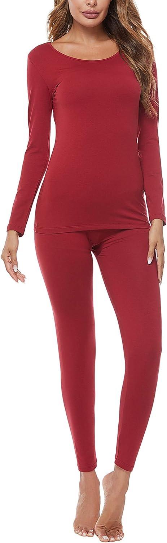 FINWANLO Thermal Underwear for Women Lightweight Long Johns Set Soft Cotton Base Layer Top & Bottom Pajamas