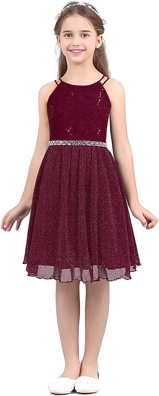 YiZYiF Big Girls' Halter Sequins Dress Junio Chiffon Flower Lace Mail order Bombing new work