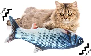 Bestmaple Moving Cat Kicker Fish Toy, Realistic Plush Simulation Electric Doll Fish USB Rechargeable, Funny Interactive Pe...