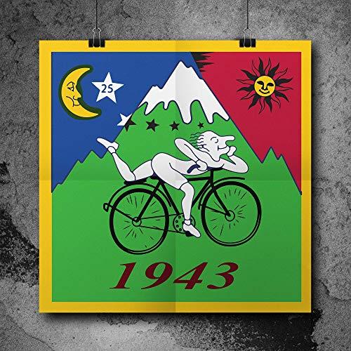Poster Bicycle Day 1943 Albert Hofmann LSD Vintage Hofmann's Bike 42cm²