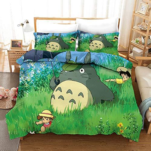 LIYIMING My Neighbor Totoro - Juego de ropa de cama de 3 piezas, 1 funda nórdica de microfibra + 2 fundas de almohada de 80 x 80 cm (04,135 x 200 cm)