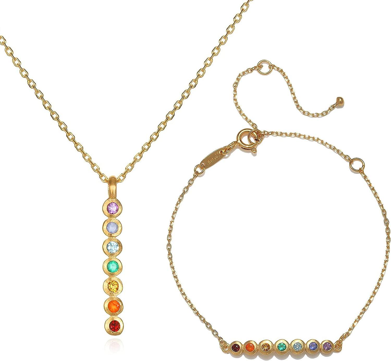 Satya Jewelry Women's Multi Stone Chakra Stick Pendant Necklace & Bracelet Set