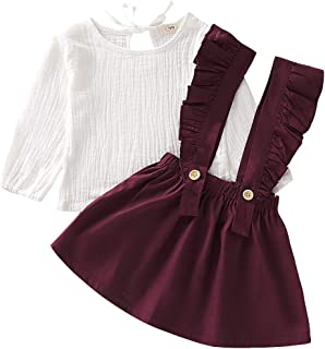 Baby Girl Linen Suspender Skirt Set Toddler Girls Long Sleeve Shirts Ruffled Dress Clothes