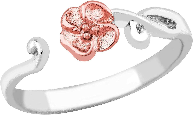 Opening large release sale Super-cheap Sterling Silver Petite Flower Toe Ring Gol Hills Rose Black 10k