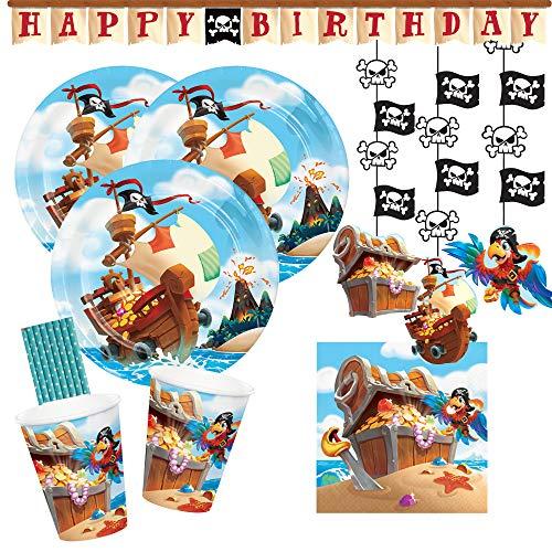 spielum Set de fiesta de 42 piezas, diseño de barco pirata, platos, vasos, servilletas, guirnaldas colgantes y pajitas para 8 niños