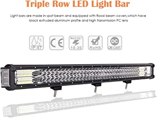 Auxbeam 32 Inch LED Light Bar 144W Triple Row Work Light Bar with Side Shooter Light Off Road Driving Light for Trucks 4x4 Military Mining Boating Farming and Heavy Equipment
