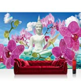 Vlies Fototapete 200x140 cm PREMIUM PLUS Wand Foto Tapete Wand Bild Vliestapete - Orchideen Tapete Buddah Orchidee Wolke Wasser Himmel Blüte blau - no. 589