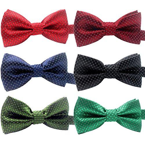 Hollihi Lot de 6 Colliers Réglables avec Nœud Papillon à Pois pour Chat ou Chien Taille 25-45 cm