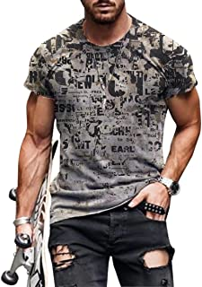 Sponsored Ad - DeyBey Summer Men's Abstract Painting T-Shirt Street Fashion Short Sleeve Top, Size: S-5XL