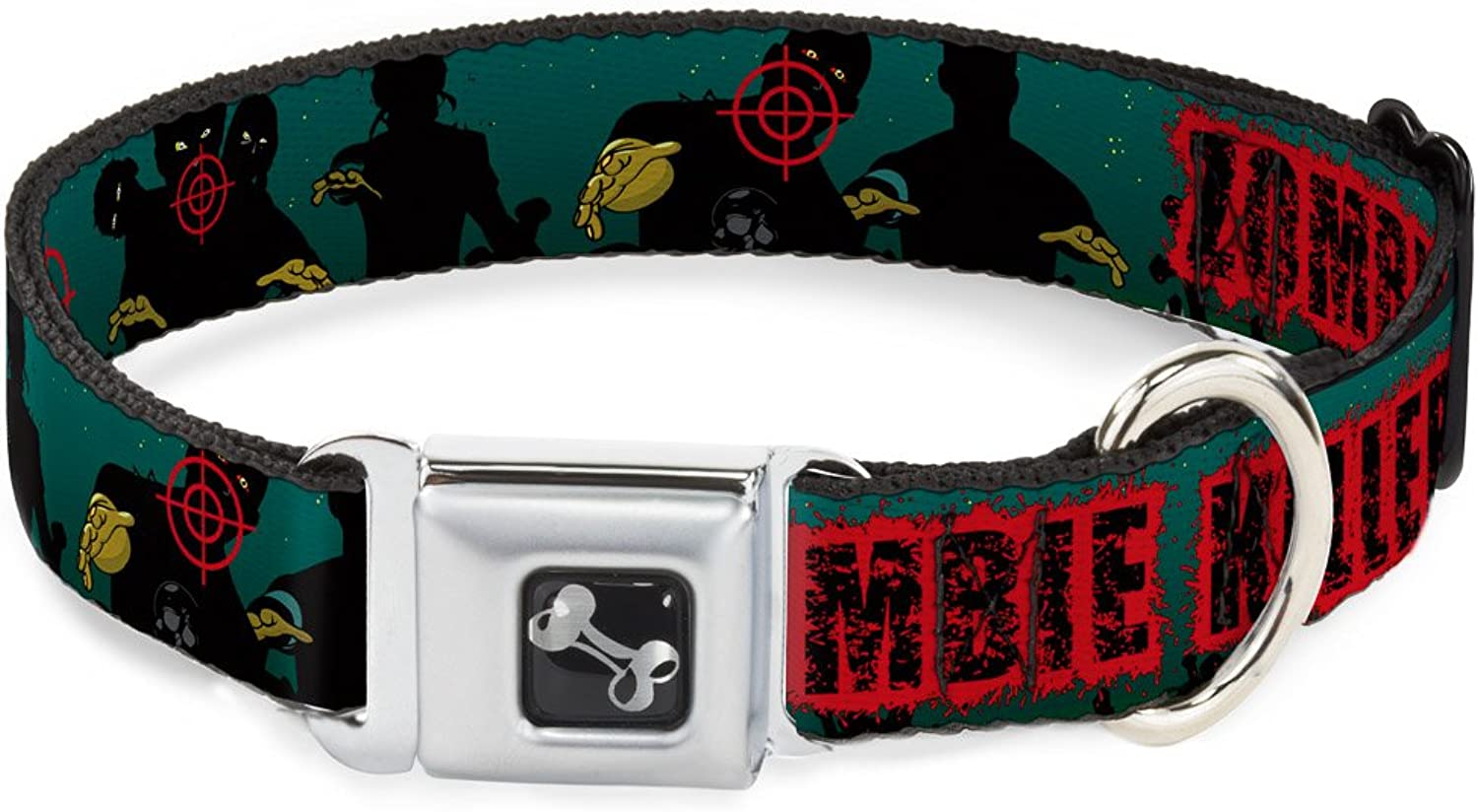 BuckleDown DCW32630L Dog Collar Plastic Clip Buckle, Zombie Killer March Green Red Black, 1 x 1526