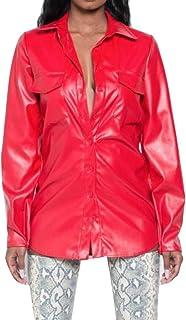 maweisong 女性のクラブウェアセクシーボーイフレンドロングスリーブ偽レザーPUボタンダウンシャツ