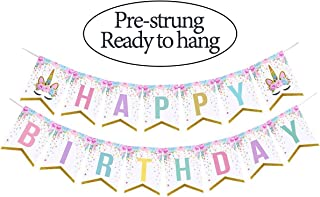 Happy Birthday Banner Flower and Unicorn ( Assembled),Glittery Rainbow Bunting Banner,Unicorn Party Decorations Favors,Unicorn photo props, Birthday Party Supplies For Cute Fantasy Fairy Girls