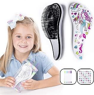 Hair Brush for Girls, Unicorn, Mermaid, Design-Your-Own Detangler Hairbrush, Wet/Dry, Colour in and Decorate with Gems