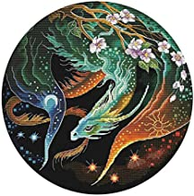 Color Dragon Cross Stitch Kits Stamped Embroidery Sets DIY 3-Strand Cotton Thread 11CT Pre Printed Fabric Needlework Crafts Home Decoration