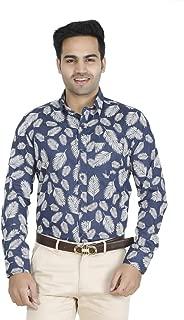 EL FIGO Men's Casual Cotton Full Sleeve Printed Slim FIT Shirt