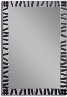 MirrorsHome | Handmade Wall Mounted Mosaic Rectangle Framed Bathroom Modern Zebra Fused Glass Mirror 31.inch X 22.inch