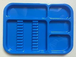 DENTAL instrument autoclavable set up tray includes BUR HOLDER SECTION Size 340 X 245 X 20 MM (DK.blue)