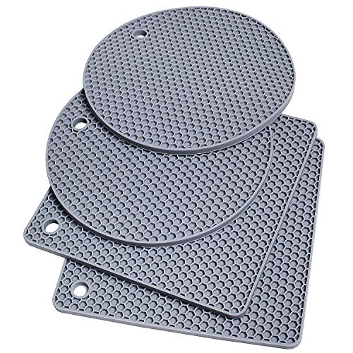 Juego de 4 alfombrillas de silicona multiusos para ollas calientes, color gris