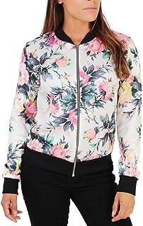 neveraway Women's Zip Up Trim-Fit Rose Printed Autumn Bomber Jacket Coat