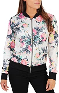 Howely Womens Rose Printed Zipper Slimming Autumn Jackets Short Coat