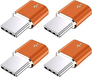 محول USB نوع C، JXMOX (4 حزمة) من الألومنيوم ميكرو USB إلى USB C محول شحن سريع متوافق مع سامسونج جالاكسي S10 S9 S8 Plus، N...