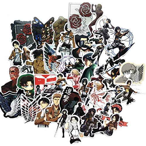SGOT Jojos Aufkleber, One Piece Stickers, Wasserdicht Vinyl Demon Slayer Stickers, Anime Decals für Auto Motorräder Gepäck Skateboard Laptop Aufkleber(42 Stück Attack On Titan)