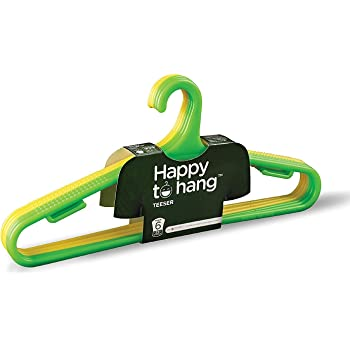 Happy To Hang Teeser Polypropylene Hanger, Yellow And Green, Pack of 6