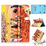 Funda universal de piel para compatible con todos los modelos de tabletas de 10 y 10,1pulgadas, Gato