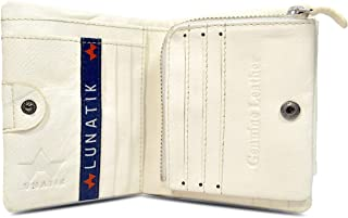 Lunatik Genuine Leather WHEW White Stylish Bifold Mens Wallet with Multilple Card and Ids Holder, Zip Coin Pocket (White)