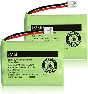 iMah AAA 3.6V 900mAh Ni-MH Battery Pack, (Connector only fits Motorola Baby Monitor MBP33 MBP33S MBP36 MBP36S 900mAh Version) MBP843CONNECT MBP853CONNECT Summer Infant 28650 29000 29030 29600, 2-Pack