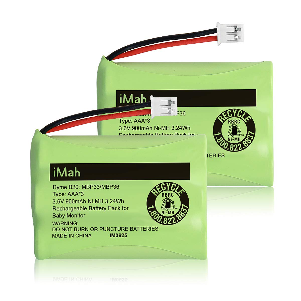 iMah Ryme B20 Battery Pack (Connector only fits Motorola MBP33/MBP36 Old Version, Don't fit MBP33/MBP36 New Version   Plug Different) Fits Summer Infant 29030-10 29600-10, Pack of 2