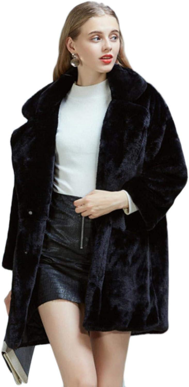 Dapigu Womens Teddy Coat Long Furry Faux Fur Outwear Shaggy Plus Size Jacket